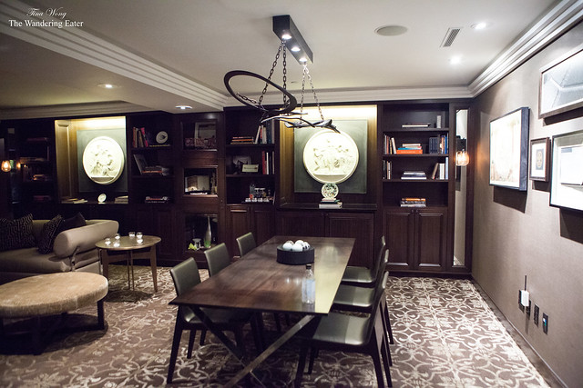 The library and dining room at the Jewel Suite