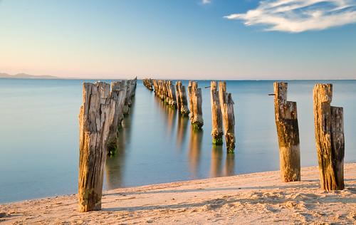 old sunset beach water bay jetty springs posts pylons peninsula clifton bellarine