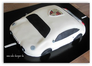 Sensational 24 Fondant Torte Porsche Weiss Sengul Akbas Flickr Personalised Birthday Cards Veneteletsinfo