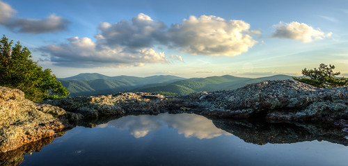 mountains reflection water clouds puddle evening virginia blueridge appalachians spyrock nelsoncounty