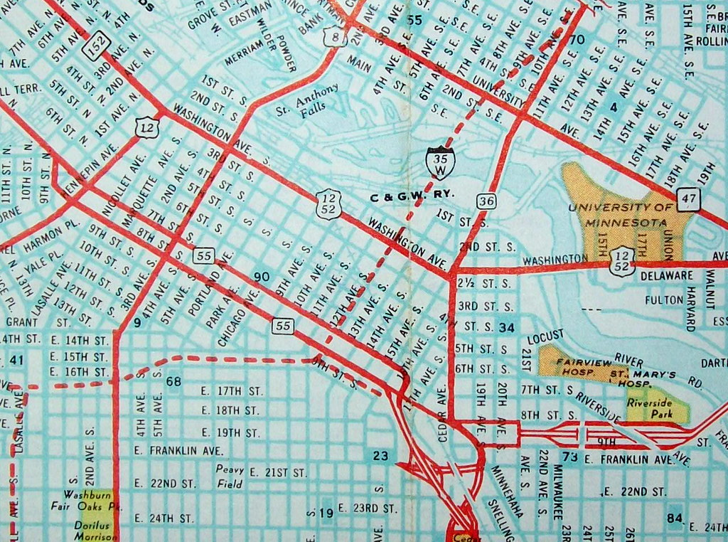 Minneapolis MN 1966   Map by Ashburn Maps. Published for a l ...