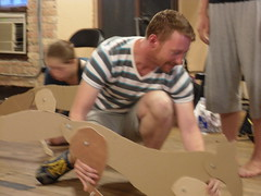 Tue, 2011-11-15 23:57 - The cast plays with designer Lee Keenan's puppet prototypes!