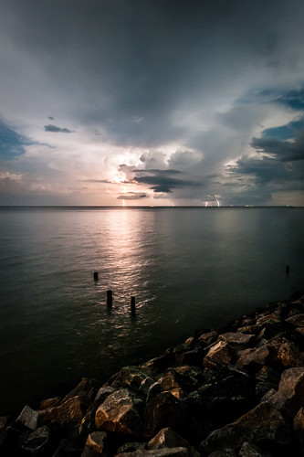 sky storm water night clouds dark rocks lightning chesapeakebay