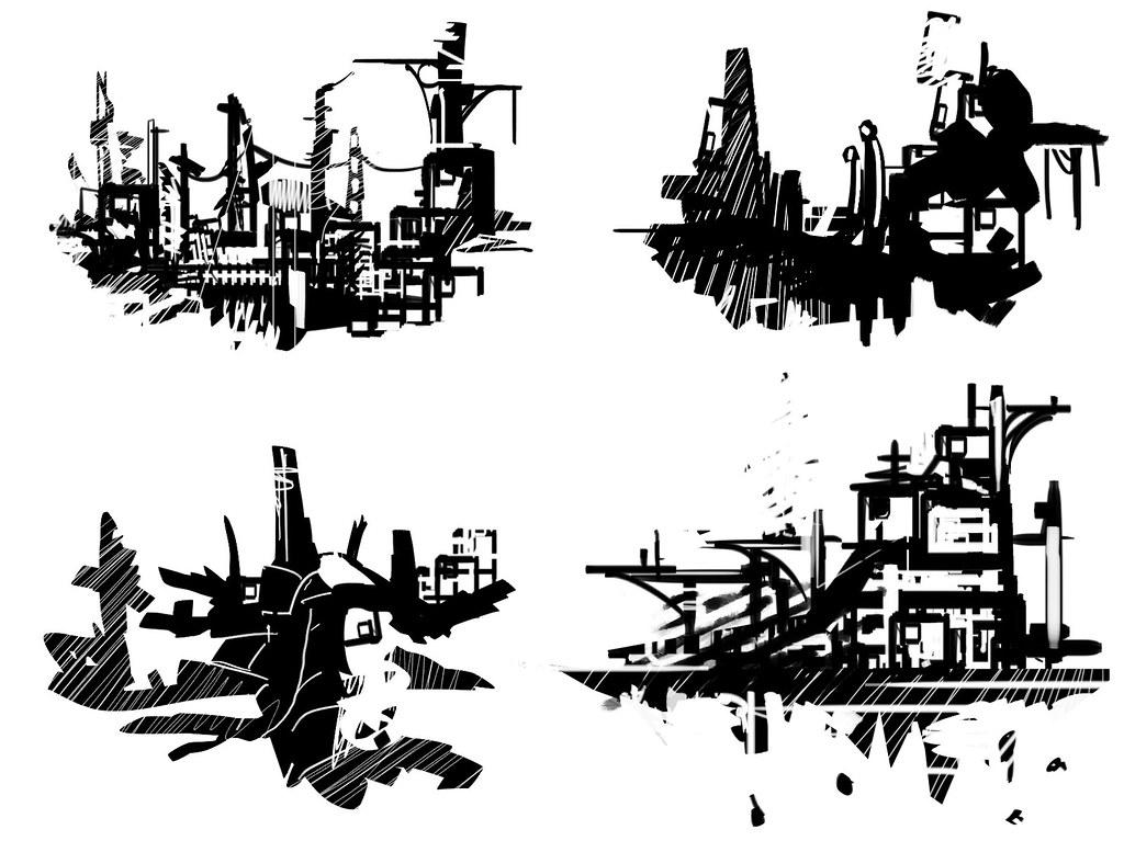 Abstract Environment Sketches Environment Concept Art S