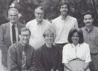 1993 Wig Distinguished Professors: Front, from left: JIm McKenna, Jill Schneiderman, Cynthia Selassie. Back: Fred Sontag, David Elliott, Ken Wolf and Shahriar Shahriari