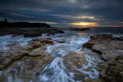 ocean longexposure seascape sunrise rocks australia newsouthwales aus watermovement swanseaheads nikon1635mmf4 nikond750