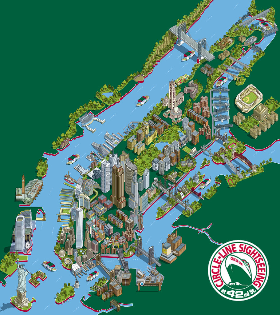 Map Of New York Tourist Spots.New York Illustration 101 New York Sights Tourist Attr