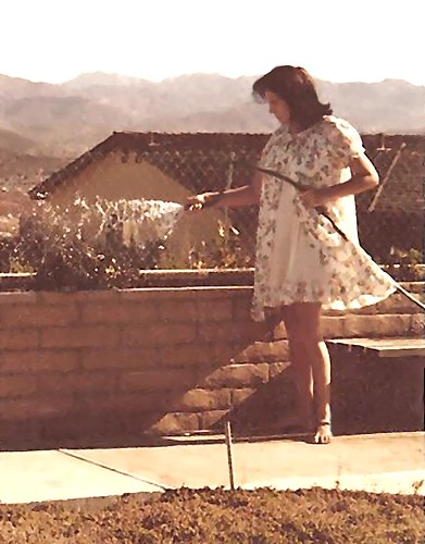 wife woman nighty bare water view sun outdoors babe mature brown hair mini green landscape flowers people clouds shadow dark light nikon sheer old photo california body show s mom granny me collectable short legs toes teen young girl