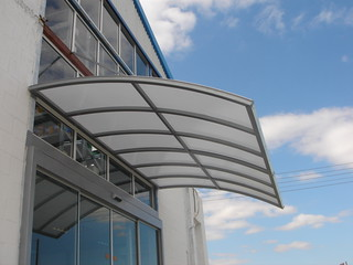 suspended curved metal canopy with Lexan   suspended ...