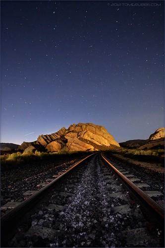 night stars nightshot tracks railroadtracks mormonrocks cajonpass