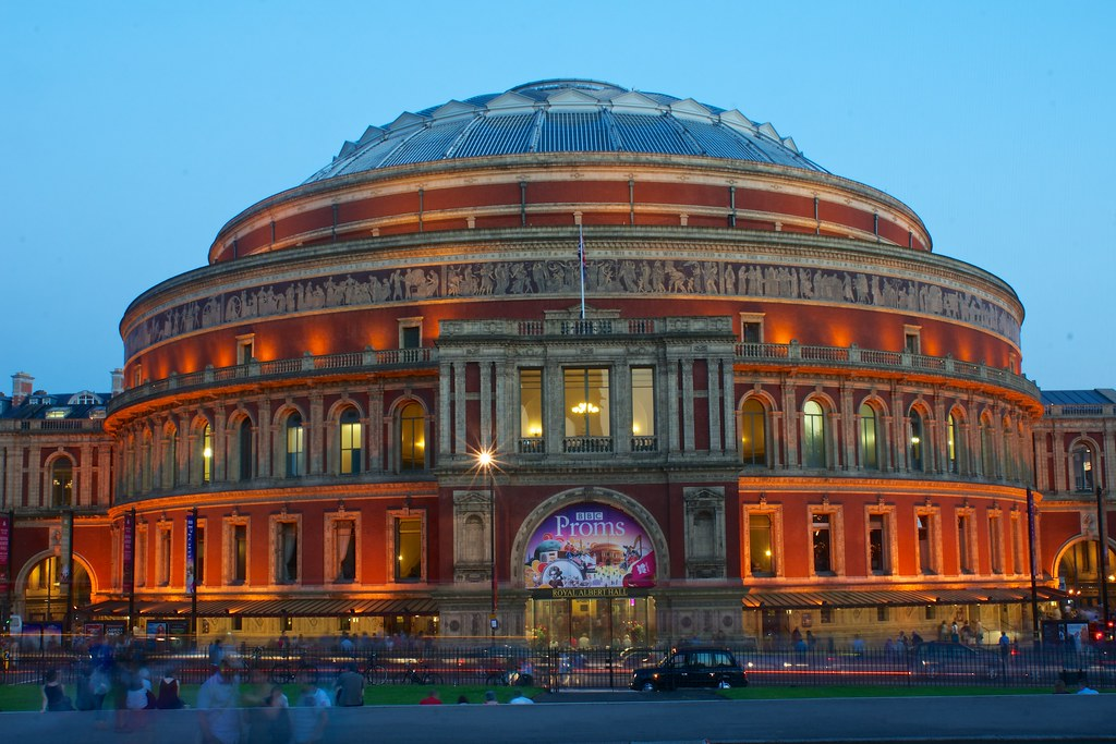 People leaving the BBC Proms at the Royal Albert Hall