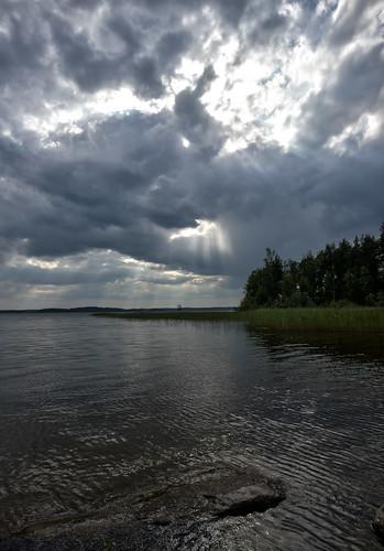 sky lake clouds finland view dramatic shore hdr iitti kymenlaakso urajärvi 714mmf4 photoengine panasoniclumixgh2