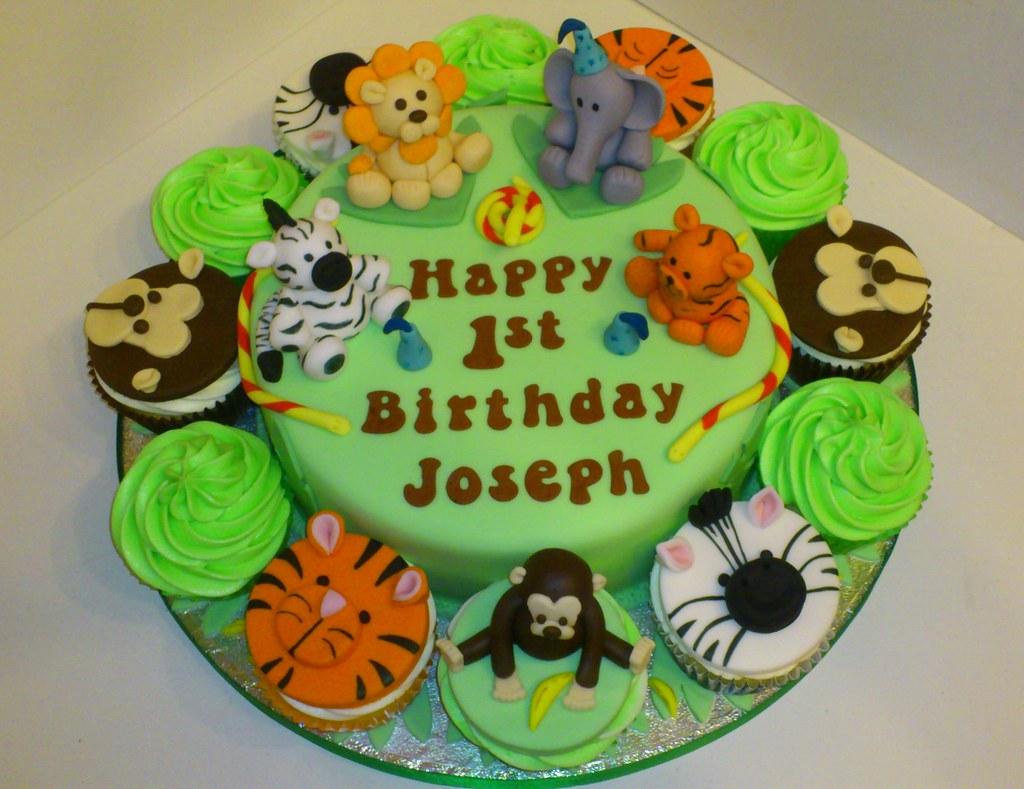 Astonishing Jungle Theme 1St Birthday Cake A Photo On Flickriver Funny Birthday Cards Online Inifofree Goldxyz