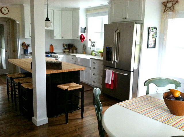 dining room and farmhouse kitchen