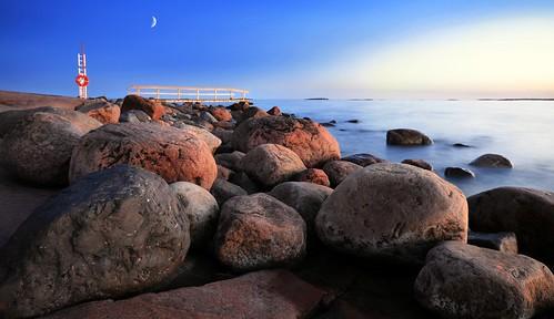 blue sunset sea moon seascape landscape pier spring helsinki rocks horizon rocky hour seashore lauttasaari
