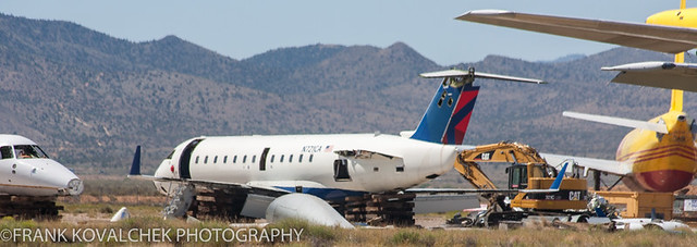 The remains of a Bombardier CRJ-100ER at Kingman Airport