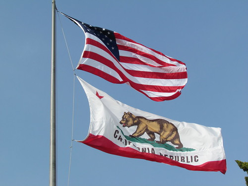 US National Flag and California State Flag, City Hall, Santa Monica | by euthman