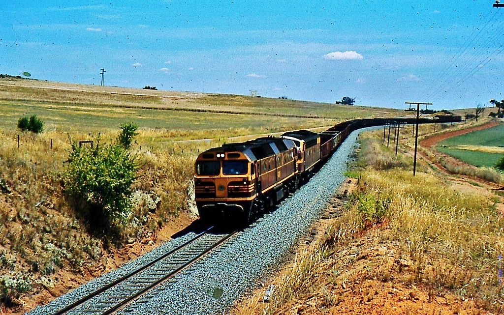 Melbourne to Sydney freight  rounding  S bends into Junee by Rodney S300