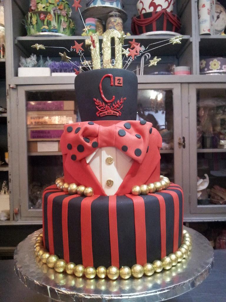 Astonishing 3 Tier Tuxedo Top Hat Style Wicked Chocolate Cake In Red Black Birthday Cards Printable Giouspongecafe Filternl