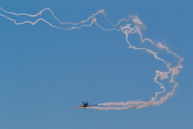 Brian Sanders demonstrating wake turbulence in the Hawker Sea Fury Mk 11