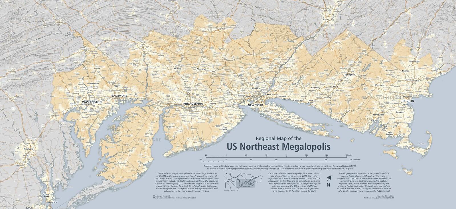 Regional Map of the US Northeast Megalopolis | A regional ma ...