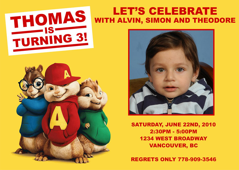 Alvin And The Chipmunk Custom Birthday Invitation