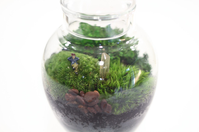 Footed terrarium with pink Quartz Crystal