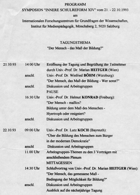 Programm Symposion, 1993