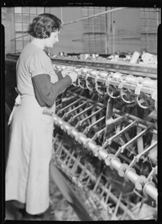 Redrawing: This operation is performed on the winding machine. In making the warp, thread is wound off the bobbins, March 1937