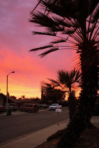 california sunset sky color porterville