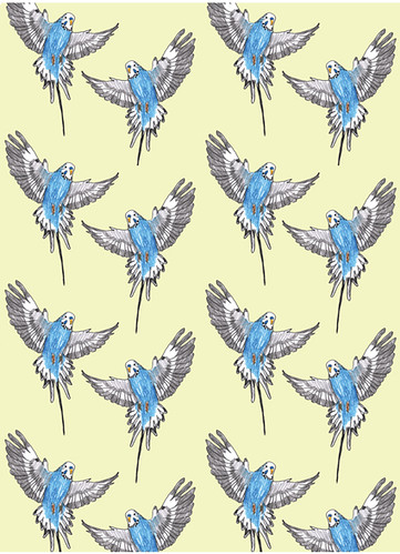 Budgie Love Wallpaper | by Åsa Wikman Illustration