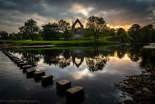 sunset reflection building tree water abbey clouds river landscape religious scenery arch stones ruin pebbles stepping bolton wharfe