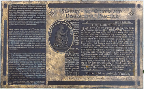bronze plaque newjersey nj historic marker historical slavery mercercounty trenton