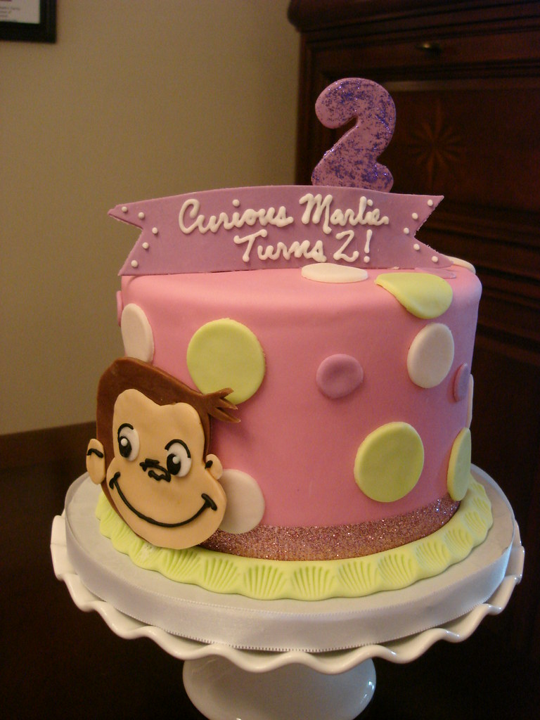 Cool Pink Curious George Birthday Cake You Can See More Custom Flickr Funny Birthday Cards Online Sheoxdamsfinfo