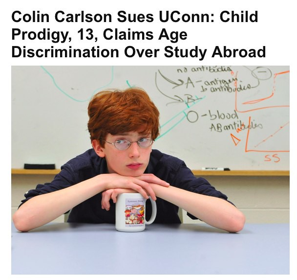 Colin Carlson Sues UConn: Child Prodigy, 13, Claims Age Di