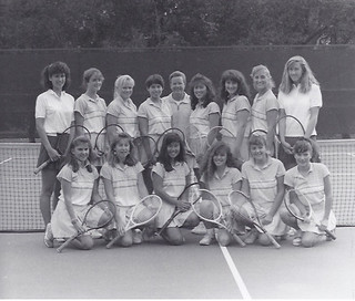 The women's tennis team in 1989. That year, the team were SCIAC champions. Photo submitted by Mercedes Fitchett '91.