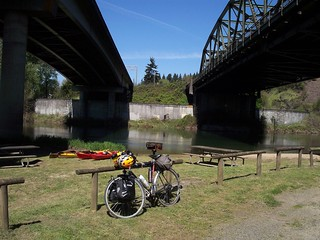 Bike, Kayaks, River, Freeway