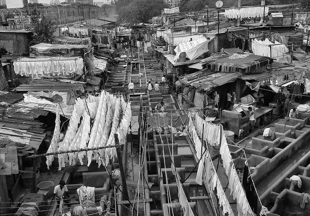 BOMBAY, INDIA. THE BIGGEST OPEN AIR LAUNDRY