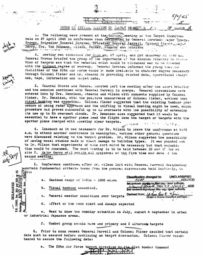 Notes on Initial Meeting of the Target Committee May 2 1945