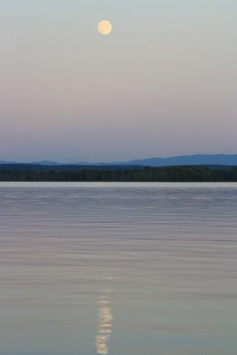 sunset sky moon lake view
