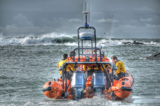 Off Into The Storm ... Trearddur Bay RNLI ... Anglesey