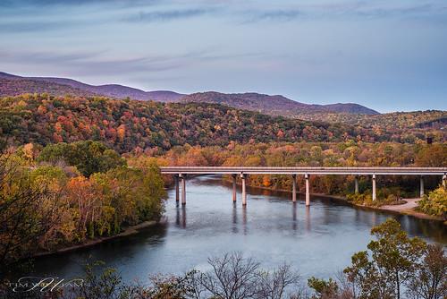 bridge autumn trees fall water newriver