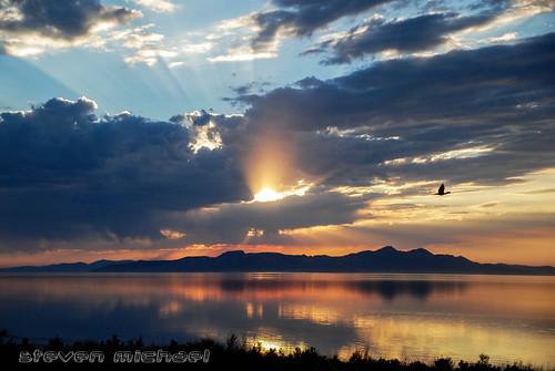 blue sunset red sky orange sun lake set sunrise island utah great salt antelope interstate i80 rise 80 fires
