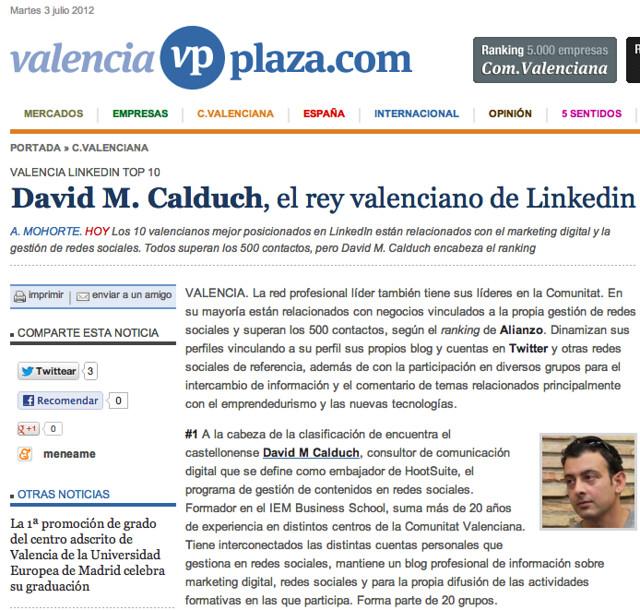 Valencia LinkedIn Top 10 - David M Calduch el Rey Valenciano de LinkedIn