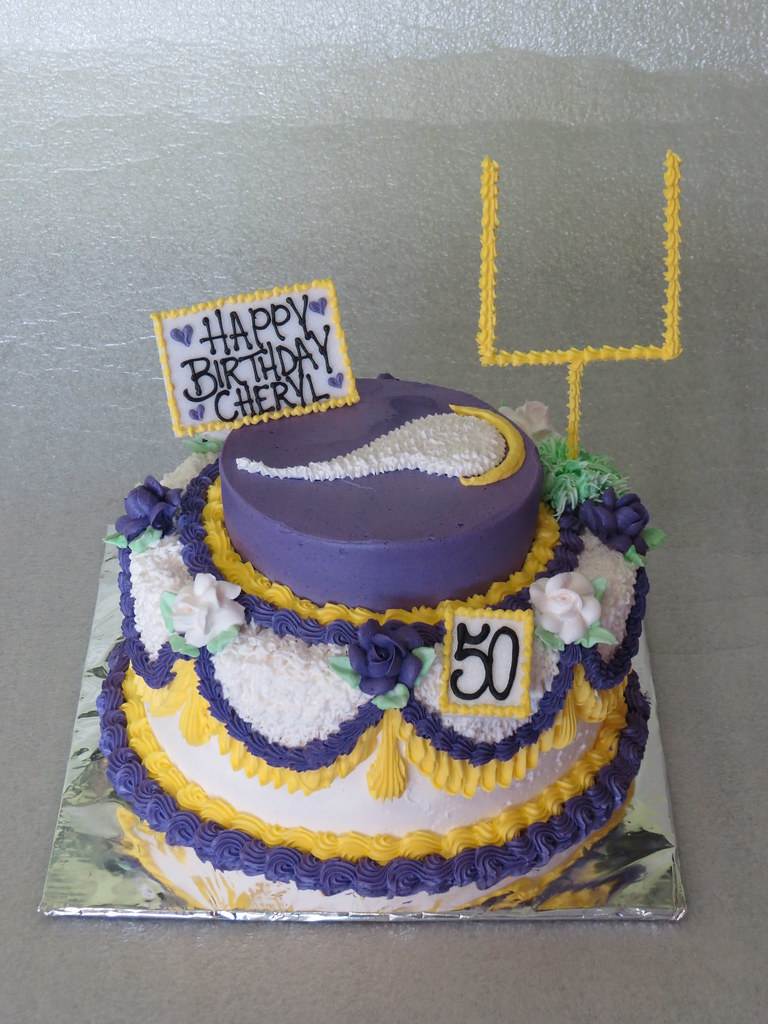 Fabulous Minnesota Vikings Birthday Cake 50Th Birthday Cake For A M Flickr Funny Birthday Cards Online Elaedamsfinfo