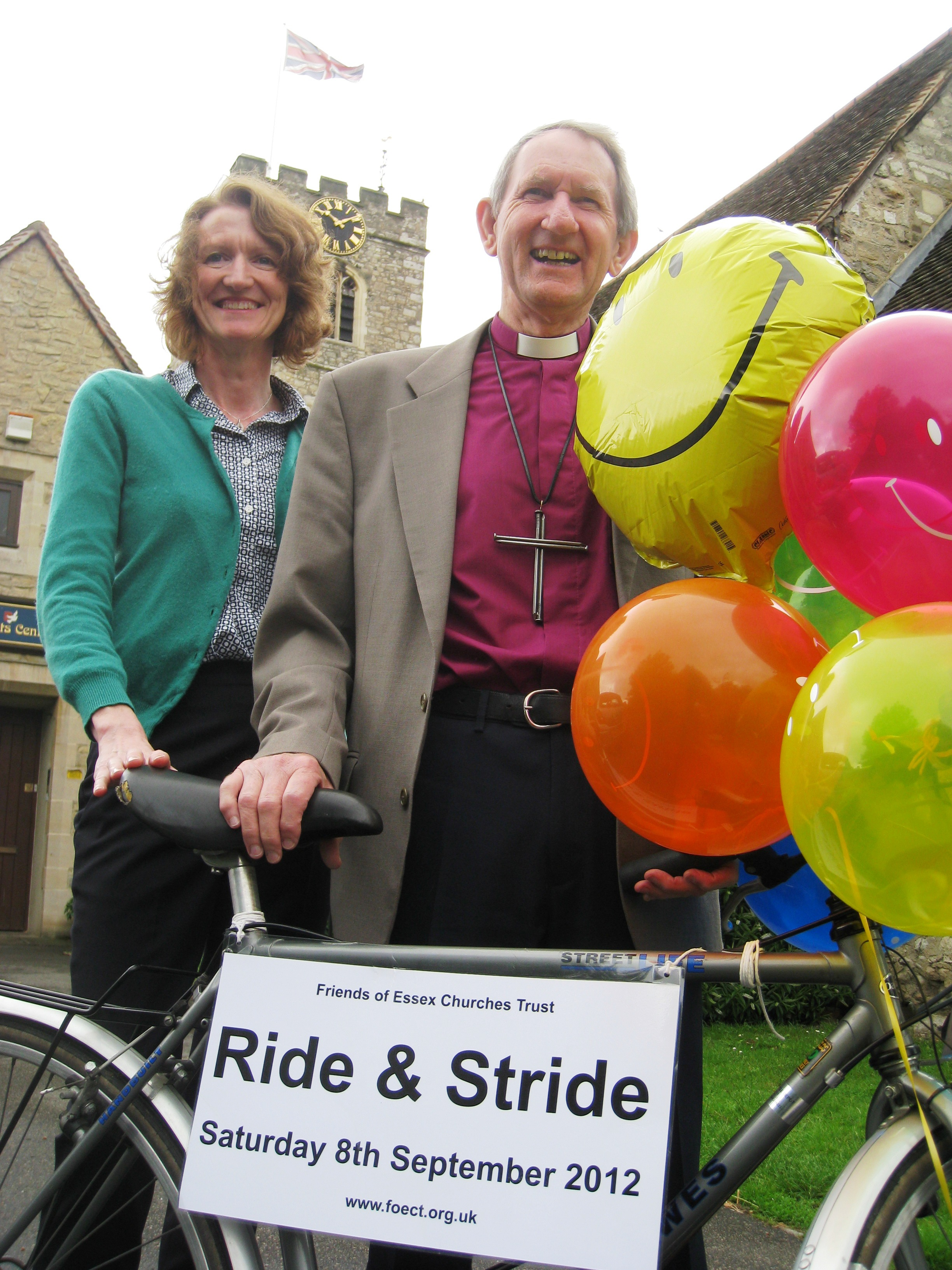 Philippa King and Bishop David Hawkins launch Ride + Stride in Essex