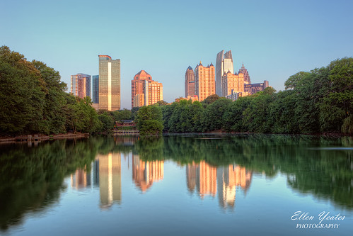 park atlanta lake reflection building tree skyline sunrise river georgia landscape photography downtown unitedstates picture piedmont hdr timeofday lakeclarameer ellenyeatesphotography