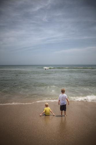 sky beach boys water kids wonder nc waves horizon joy kurebeach