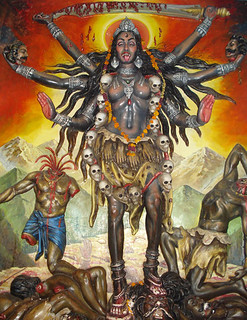 Goddess Kali (overly graphic)   Dancing mad with joy, Come