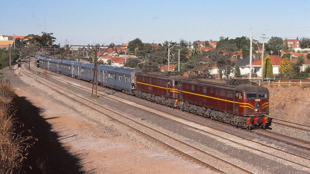 NSWGR_BOX008S02 - 4606, 4605 at Wentworthville with the Indian Pacific by michaelgreenhill